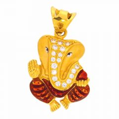 Glossy Matte Finish Lord Ganesha Enamel With Studded CZ Gold Pendant