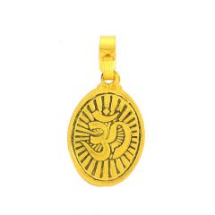 Glossy Matte Finish Om With Lord Durga Gold Pendant