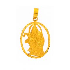 Glossy Finish Diamond Cut Lord Radha Krishna Gold Pendant
