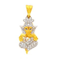 Glossy Finish Rhodium Polish Lord Ganesha With Studded CZ Gold Pendant