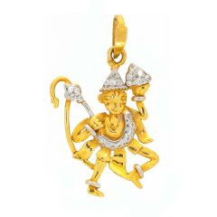 Glossy Finish Rhodium Polish Lord Hanuman With Studded CZ Gold Pendant