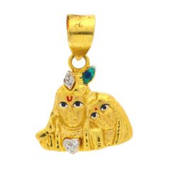Glossy Finish Lord Radha Krishna Multicolour Enamel With Studded CZ Gold Pendant