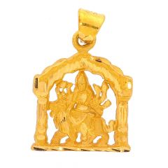 Sand Blast Glossy Finish Diamond Cut Lord Durga Gold Pendant