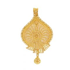 Gold Embossed Filigree Pear Drop Design Gold Pendant