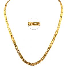 22kt Glossy Finish Engraved Figaro Plate Gold Chain - PG1123