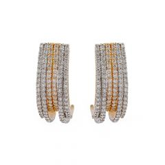 Glittering Micropave Set Curved Diamond Earring -PG72