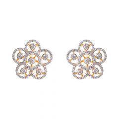 Glossy Glittering CZ Studded Floral Gold Earring  - PGC00476