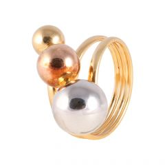Glossy Finish Spiral Pearl With Rhodhium Polish Italian Gold Ball Ring - PGR00365