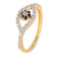 Glittering Marquise Design Floral Black Stone With CZ Studded Gold Ring - PGR00445