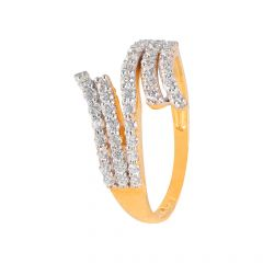 Glittering Pave Set CZ Curved Gold Ring - PGR00450