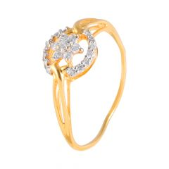 Glossy Sparkling Floral Pave Set CZ Gold Ring - PGR00452
