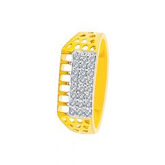Dazzle Cutout CZ Gold Ring For Him