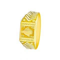 Classy Textured Gold Ring For Him