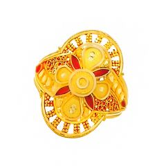 Classical Textured Enamel Gold Ring