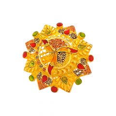 Traditional Filligree Textured Enamel Gold Ring