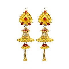Ceremonial Textured Enamel Dangler Gold Earrings