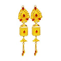 Classical Textured Enamel Gold Earrings