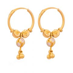 Glossy Finish Diamond Cut Hoop Design With Studded CZ Gold Earrings