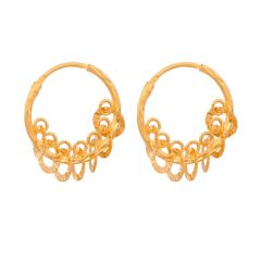 Glossy Finish Diamond Cut Daggling Rings Hoop Design With Studded CZ  Gold Earrings
