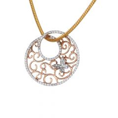 Satin Finish Filigree With Butterfly Design Studded CZ Rose Gold Pendant-PN18-85