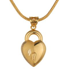 Heart With Lock Gold Pendant-PN22-372