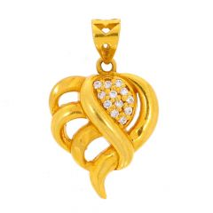 Glossy Finish Curved Heart Design With CZ Studded Gold Pendant
