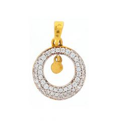 Sparkling Glossy Finish Circle Design CZ Studded Gold Pendant