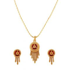 Traditional Enamel Embossed Gold Beads Pendant Set-PS-211909