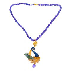 Traditional Peacock Kundan Gemstone CZ Gold Pendant Necklace Set