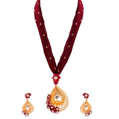 Glossy Enamel Floral Pearl With Kundan Pendant Set - PS177