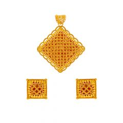 Traditional Embossed Bead Gold Pendant Set