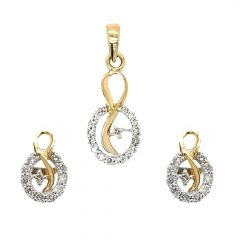Sparkling Pave Prong Set Contemporary Design Diamond Pendant Set