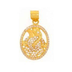 Glossy Finish Lord Ganesha Round Design With Studded CZ Gold Pendant
