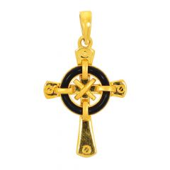 Glossy Finish Holy Cross With Black Fiber Gold Pendant