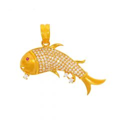 Glossy Finish Fish Design Studded With CZ Gold Pendant