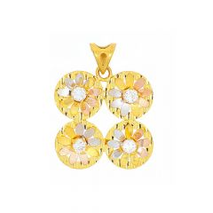 Glossy Finish Rhodium Polish Two Tone Floral Design With CZ Studded Gold Pendant
