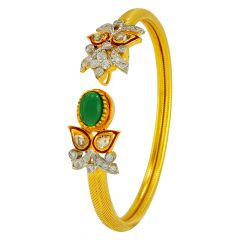 Cabochon Cut Precious Stone With Diamond Kada - pskada