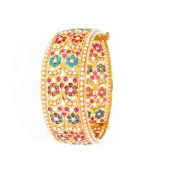 Glossy Finish Floral Design Studded With Synthetic Pearl Colour Stone Openable Gold Bangle