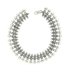 Glossy Finish Anntique Linked Drop Ball Design Silver Anklet