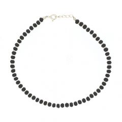 Glossy Finish Black Beads Link Design Silver Anklet