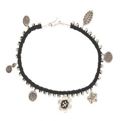 Glossy Oxidized Finish Fancy Charms In Thread Design Silver Anklet
