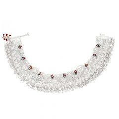 Glossy Finish Bridal Design With Multicolour Enamel Silver Anklet