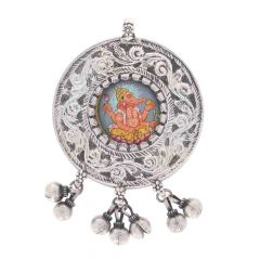 Glossy Oxidized Finish Antique Design With Multicolour Glass Enamel Lord Ganesha Silver Pendant