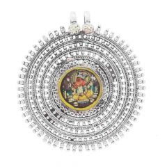 Glossy Oxidized Finish Lord Ganehsa Enclosed Circular Dots Design With Multicolour Glass Enamel Silver Pendant