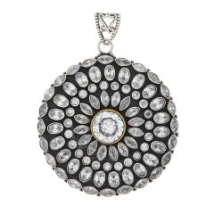 Glossy Oxidized Finish Round Floral With Studded Synthetic Colourstone Design Silver Pendant