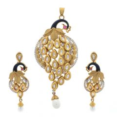 Glossy Finish Kundan Peacock Enamel Design With Studded Stone And Synthetic Pearl Gold Polish Silver Pendant Set