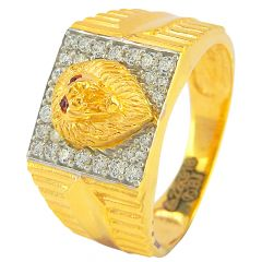 Lion Face Gold Ring With CZ - r130