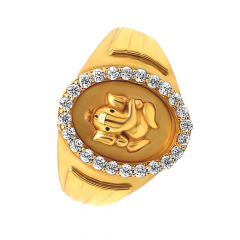 Religious Embossed Lord Ganesha CZ Gold Ring