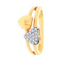Cluster CZ Heart Gold Ring
