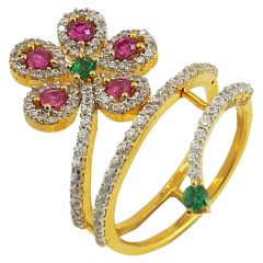 Multicolor Stone Gold Spiral Ring With CZ - r472